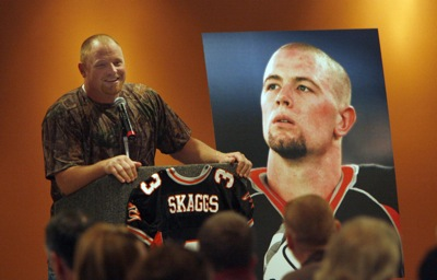 Utah Blaze teammate Hans Olsen recalls fond memories of his friend Justin Skaggs during a memorial service last year at the Energy Solutions Arena shortly after Skaggs died of a brain tumor.