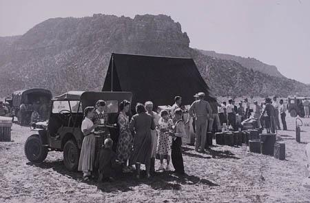 This 1953 photo shows a tent and kitchen in the barren desert set up by Arizona authorities after the Short Creek raid that took into custody 388 people.
