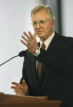 D. Todd Christofferson speaks at a news conference in the lobby of the LDS Church Office Building on Saturday.