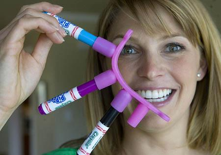 Stay-at-home mom Rebecca Davidson invented Cap Trappers, a device that keeps markers organized and prevents children from choking on the lids.