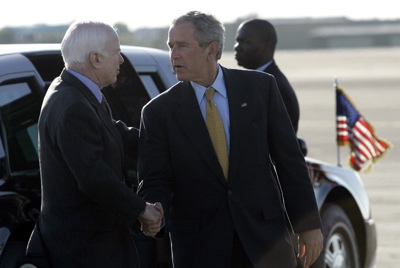 Republican presidential candidate Sen. John McCain, R-Ariz., left, shakes hands with President Bush before the President boarded Air Force One on Tuesday morning in Phoenix.
