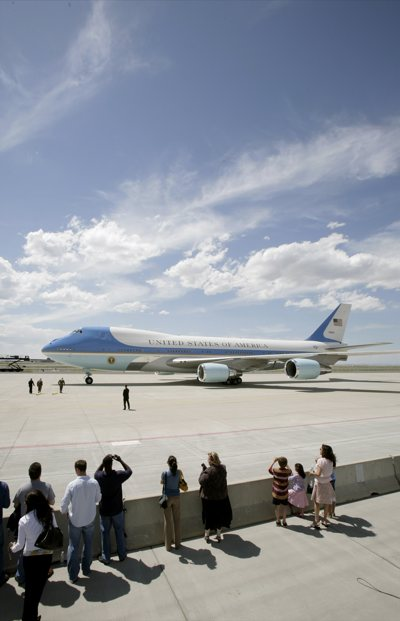 Air Force One arrives with President George Bush aboard Wednesday in Salt Lake City. Bush is visiting Utah for two fundraisers on behalf of Republican presidential candidate Sen. John McCain, R-Ariz.