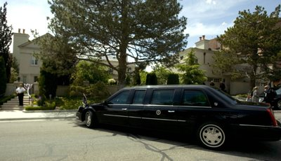 President Bush's motocade is parked on A Street in the Avenues as he spoke at a fundraiser Wednesday in Salt Lake City.