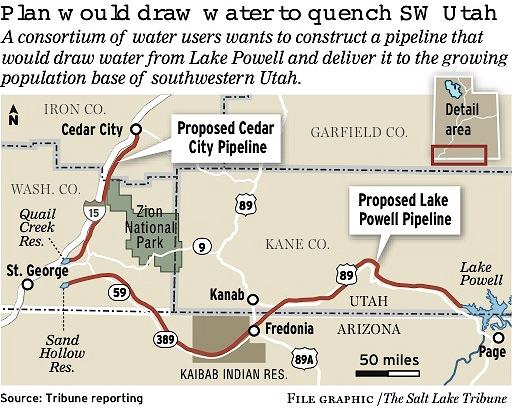 Lake Powell water pipeline route.