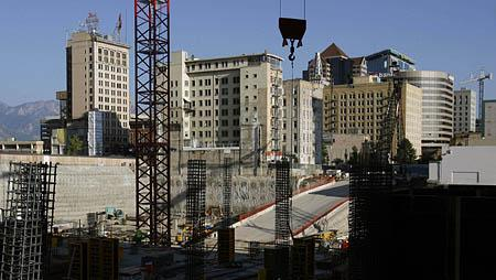 Construction continues Wednesday on the City Creek Center in Salt Lake City. Despite all the development and high-rise cranes, a Census Bureau report released today estimates that Utah's capital had fewer people last year than it did in 2000.