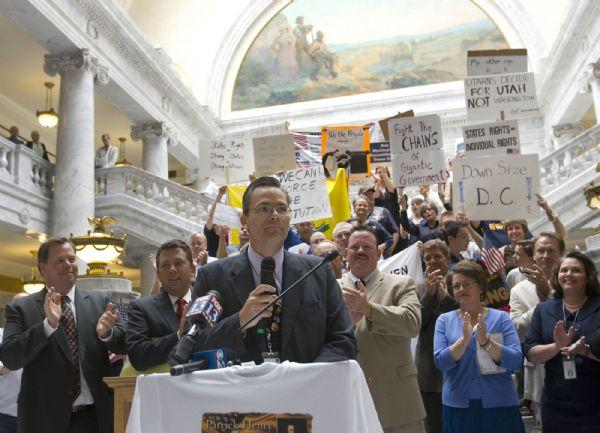 Several hundred people attendthe  Patrick Henry Caucus rally at the capitol rotunda on  Wednesday.  It's a conservative caucus focused on states' rights and saying no to federal mandates.   Representative Ken Sumsion, center speaks and fires up the crowd.  He was one of several state representatives attending the rally.