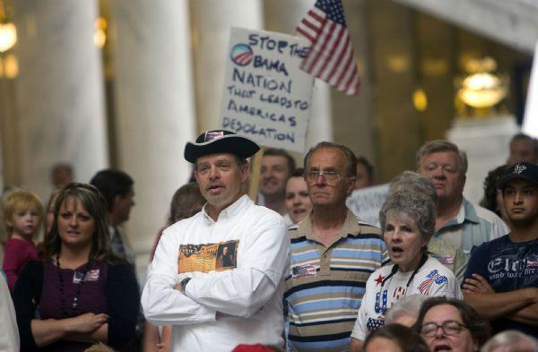 Several hundred people attend the  Patrick Henry Caucus rally at the capitol rotunda on  Wednesday.  It's a conservative caucus focused on states' rights and saying no to federal mandates.