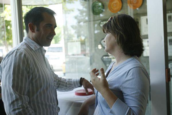Mike Thompson talks with Keri Jones during a fundraiser at The Metropolitan May 21, 2009. Thompson was the executive director of Equality Utah for the past four years and is moving to San Francisco at the end of the month.