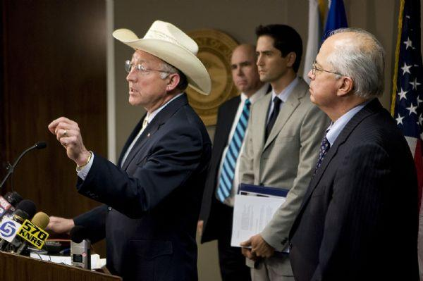 Secretary of Interior Ken Salazar, joined by Bureau of Indian Affairs head Larry Echohawk and U.S. Attorney Brett Tolman, talks to reporters about the indictments in a case involving pot hunting in the four corners area during a news conference at the U.S. Attorney's Office in Salt Lake City on Wednesday, June 10, 2009.