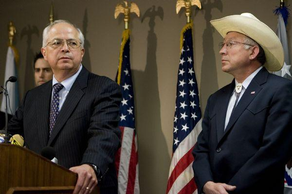 Bureau of Indian Affairs head Larry Echohawk, joined by U.S. Attorney Brett Tolman and Secretary of Interior Ken Salazar, talks to reporters about the indictments in a case involving pot hunting in the four corners area during a news conference at the U.S. Attorney's Office in Salt Lake City on Wednesday, June 10, 2009.