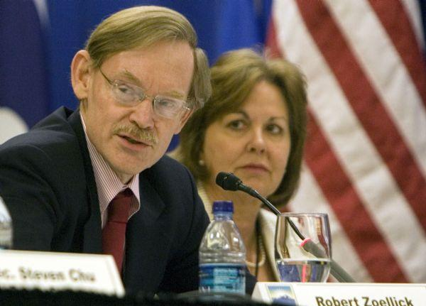 President of The World Bank Robert Zoellick, left, addresses the panel as Pam Inmann, executive director of the Western Governors' Association, right, listens during the Western Governor's Association meeting Monday.