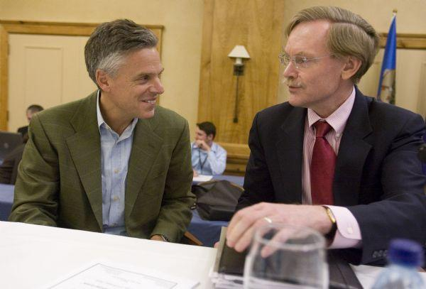 Utah Gov. Jon Huntsman Jr., left, talks with The World Bank president Robert Zoellick at the Western Governor's Association meeting Monday, June 15, 2009 at Deer Valley in Park City.
