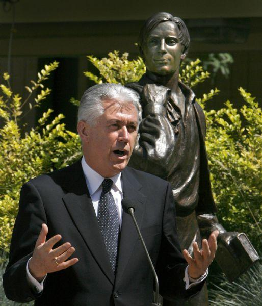 In this photo from 2007, LDS official Dieter Uchtdorf, now a member of the governing First Presidency, talks about missionary service at the Missionary Training Center in Provo during a news conference announcing that a million missionaries have served since the organizaioin of the church. A bronze statue of Joseph Smith's brother, Samuel Smith, who was the first LDS missionary, stands behind Uchtdorf June 25, 2007.   Steve Griffin/The Salt Lake Tribune
