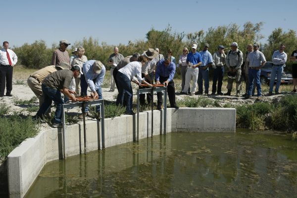 The floodgates are opened Wednesday at the South Shore Preserve on the Great Salt Lake.