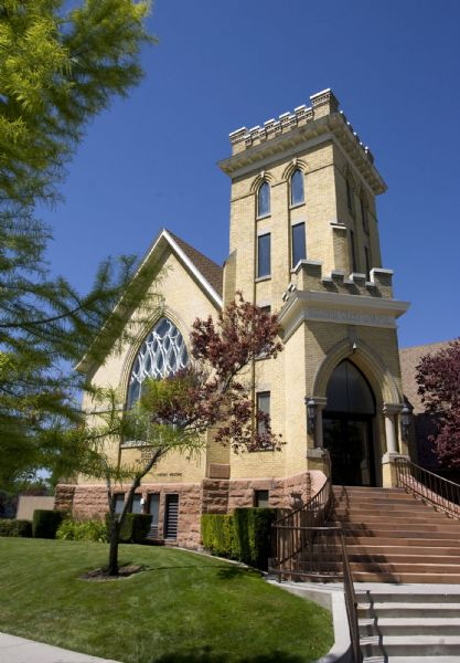 The Salt Lake Second Ward at 704 S. 500 E. shows a distinctive Gothic Revival style with a corner tower.  It's  stained-glass window of Joseph Smith's First Vision is awe inspiring.