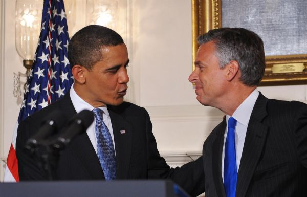 President Barack Obama chats with Gov. Jon Huntsman Jr. in the Diplomatic Reception Room of the White House on Saturday in Washington, D.C.