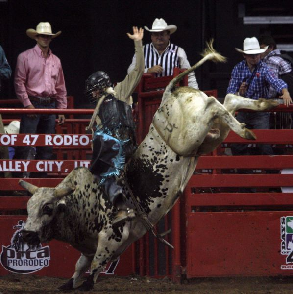 J.W. Harris, May, Texas, competes in the bull riding competition, on the first night of the Days of 47 Rodeo at the E-Center, Monday, July 20,  2009.
