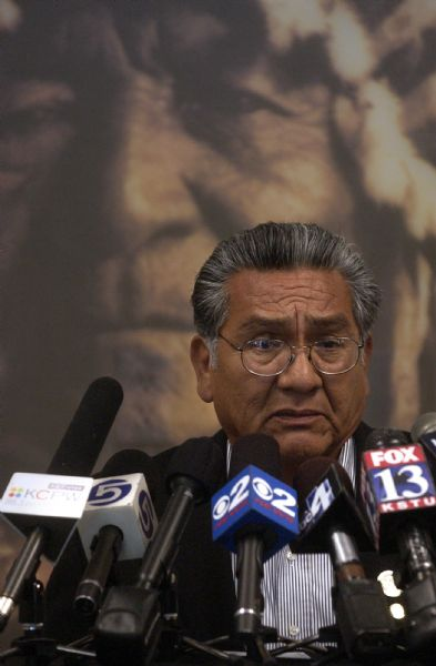 Curtis Cesspooch, chairman of the Uintah/Ouray Utes, speaks at a press conference Wednesday opposing the use of an ancient American Indian site in Draper for a FrontRunner train station. Seven tribes joined in a resolution against the proposed station location.    Anna Kartashova     The Salt Lake Tribune