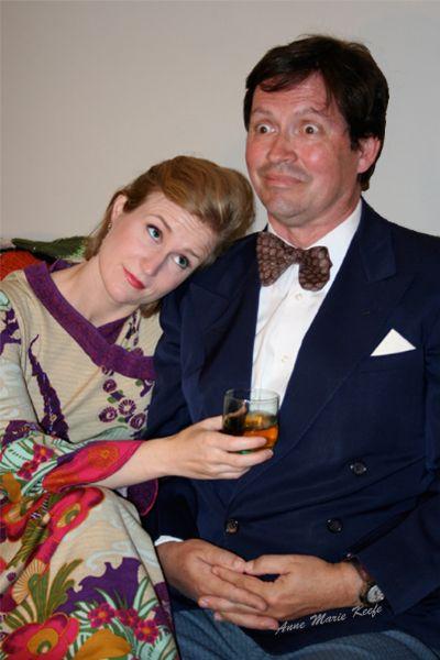 Actors Susan Paige Lane as Elaine Navazio, Richard Bugg as Barney Cashman perform in