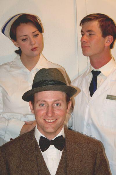 (from left) Whitney Morgan Cox as Nurse Kelly, Roger Dunbar as Elwood P. Dowd, Travis Cox as Dr. Sanderson perform in Neil Simon Festival's