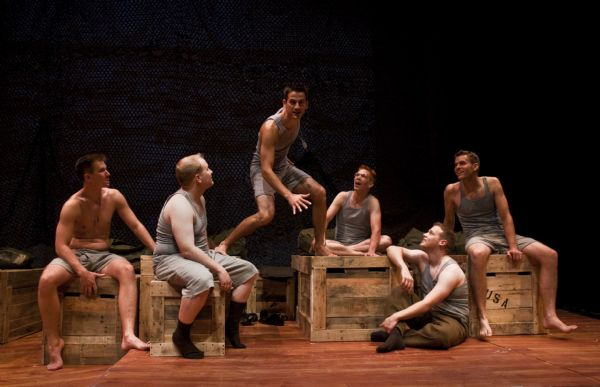 (from left) Travis Cox as Joseph Wykowski, Eb Madson as Don Carney, Jake Koeppl as Eugene Jerome, Bradford Garrison as Arnold Epstein, Ryan