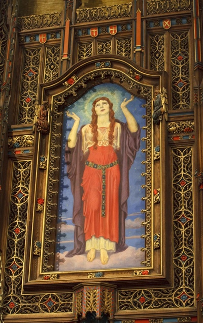 An antique painting of St. Mary Magdalene at the Cathedral of the Madeleine in Salt Lake City.
