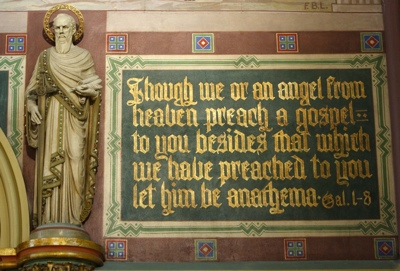 An antique Biblical quote in the Cathedral of the Madeleine, thought to be aimed at the LDS Church.