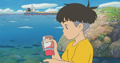 Sosuke rescues Ponyo, a fish, from a jar in in a scene from Hayao Miyazaki's