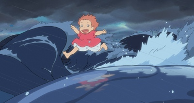 Ponyo, voiced by Noah Cyrus, runs on a wave in a scene from Hayao Miyazaki's