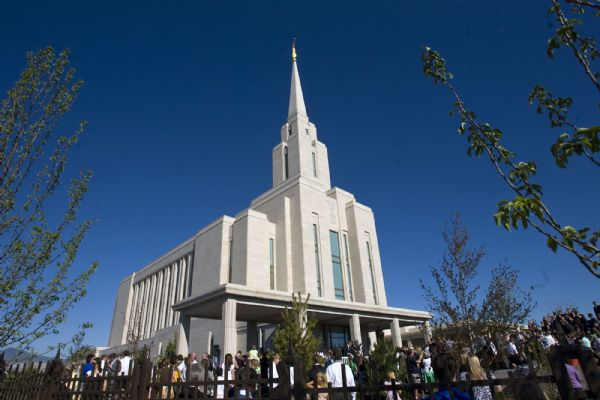 Mormon faithful gathered Friday as President Thomas S. Monson  presided over the traditional mortar ritual at the first dedication session for the Oquirrh Mountain Temple, the LDS Church's fourth in the Salt Lake Valley and 130th in the world.