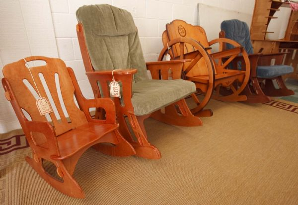 Collapsable wood furniture is displayed at the Eddie Craft store in Colorado City.