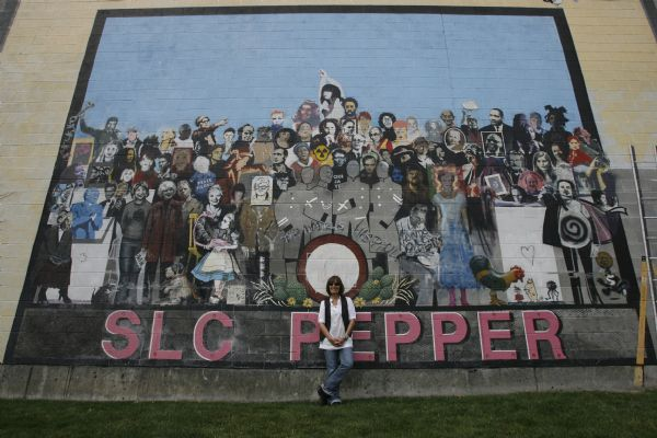 Jann Haworth in front of her mural on 400 West in Salt Lake, Wednesday, September 2,  2009.  Jann Haworth was one of the original artists behind The Beatles' most famous album cover. Today a resident of Sundance who still creates art that finds exhibitions nationally and internationally.