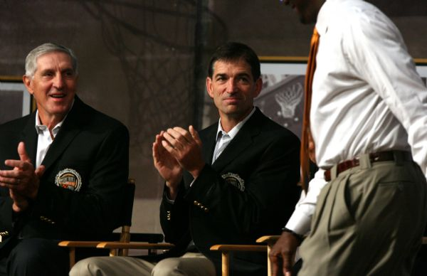 Above, Utah Jazz head coach Jerry Sloan and retired Utah Jazz point guard John Stockton smile as retired Chicago Bull and Washington Wizard Michael Jordan is introduced during the ceremony. Sloan and Stockton will be inducted into the Naismith Basketball Hall of Fame on Friday in Springfield, Mass.