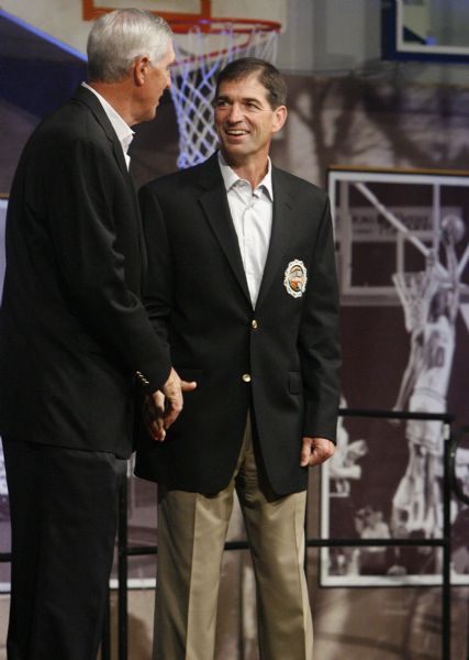 Utah Jazz head coach Jerry Sloan, left, and former Jazz point guard John Stockton are part of the Class of 2009 being inducted into the Naismith Basketball Hall of Fame on Friday in Springfield, Mass.