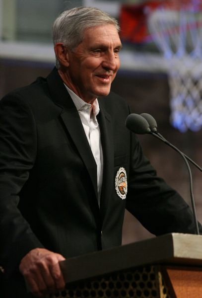 Utah Jazz head coach Jerry Sloan fields questions from reporters as the Naismith Basketball Hall of Fame induction ceremonies begin Friday in Springfield, Mass.