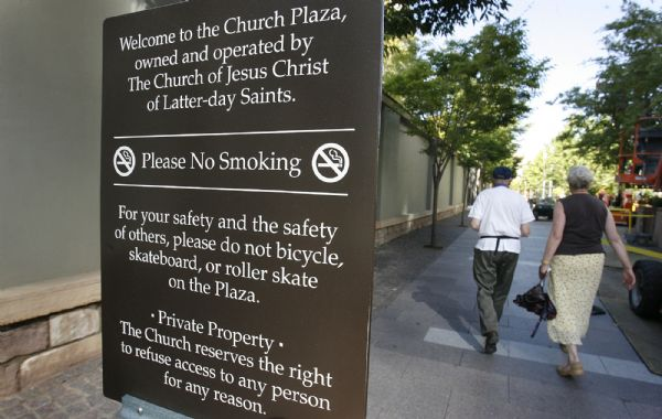 The LDS Church has changed the signs on the Main Street Plaza to let visitors know more clearly that they are on private property and can be ejected at any time. The change likely stems from an incident this summer when two gay men were stopped on the plaza after they kissed.