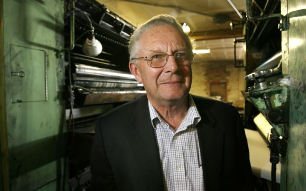 Former Magna Times editor Colin Douglas in the Magna Times press room Monday. Douglas became a passionate news gatherer in this west-side suburb and worked for more than four months without pay when the newspaper no longer had the advertising revenue to support him.