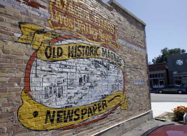 The mural on the side of the Magna Times Building Monday.