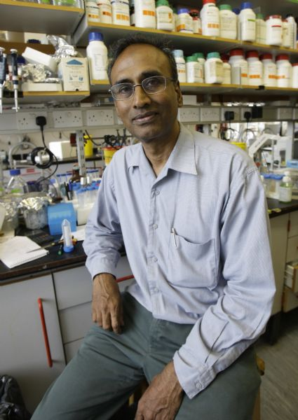 Joint winner of the 2009 chemistry Nobel Prize Venkatraman Ramakrishnan sits in his lab at the Medical Research Council Lab in Cambridge, England. Ramakrishnan thanked his colleagues at the University of Utah who helped map ribosome structure.