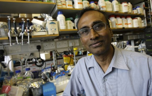 Joint winner of the 2009 chemistry Nobel Prize Venkatraman Ramakrishnan, sits in his lab at the Medical Research Council Lab in Cambridge, England. Ramakrishnan thanked his colleagues at the University of Utah who helped map ribosome structure.