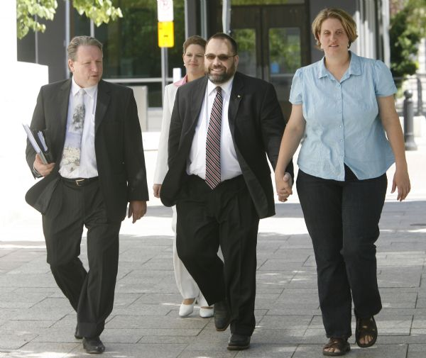 Rick Egan/The Salt Lake Tribune  Attorney Jerry Mooney, left, Rick Koerber and Michelle Koerber, leave the Federal Courthouse on Friday after Rick Koerber made an initial appearance on a federal criminal indictment that charges he ran a large fraud operation that took in at at least $100 million from investors.