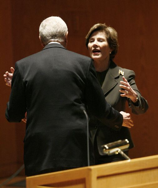 LAURA BUSH  Former First Lady Laura Bush reaches out to embrace Senator Orrin Hatch prior to speaking at the annual Utah Women?s Conference - ?Discovering the Diversity and Unity of Women? which took place Monday Oct. 26, 2009, at Abravanel Hall in Salt Lake City. Senator Orrin Hatch (R-Utah) and his wife, Elaine attended as well as pianist Roger Williams, and Utah's first lady Jeanette Herbert.