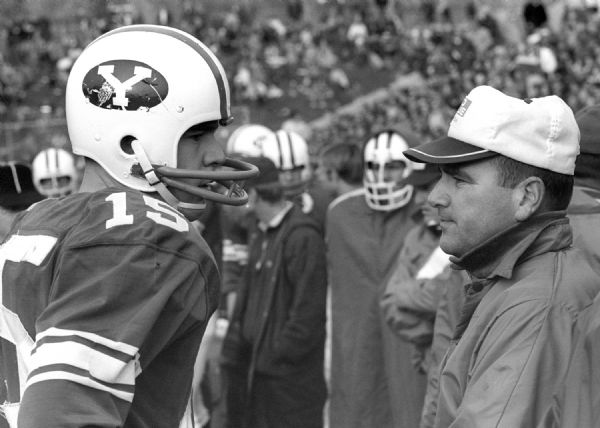 FTB 34 1969    Quarterback Marc Lyons with Coach Tommy Hudspeth  1969 Brigham Young University Football    Photography by BYU    Copyright BYU Photo 2009  All Rights Reserved  photo@byu.edu  801-422-7322