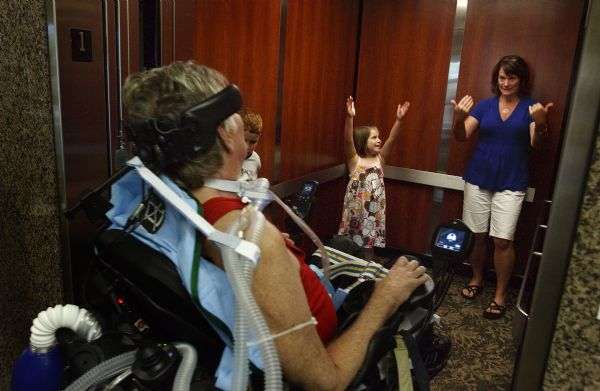 Hopkins  accident has been a defining moment for the whole Hopkins/Battin clan. His stepdaughter, Sara Battin Pearson, and Max, 7, and Sydney, 5, cheer on their grandfather as he enters the elevator. The children call him  Mountain Papa  and have adjusted to his rehab room as the new normal.
