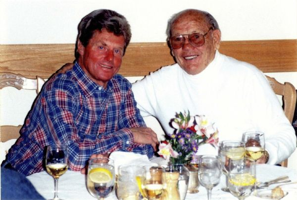 Two Norwegian emigres who were international ambassadors of Utah skiing ? Stein Eriksen, left, and Alf Engen ?  share a comfortable moment together at a 1995 social function at Deer Valley.