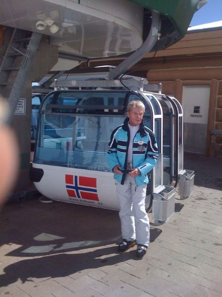 On his first trip ever to Snowbasin Resort last winter, Stein Eriksen was pleased to get a chance to pose for a photograph next to a gondola bearing his name.