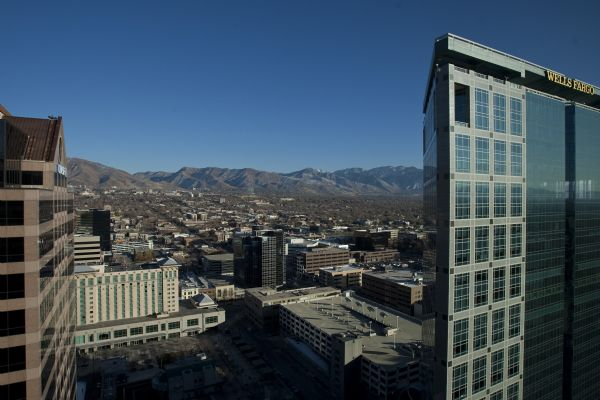 The view from the top of Salt Lake City's newest high-rise building, 222 S. Main Street Thursday December 3, 2009. It's one of the few skyscrapers that have been completed in the last year, as office building construction has largely come to a complete halt. 222 S. Main is a $125 million, 22-story office tower comprised of about 459,000 square feet of office space.