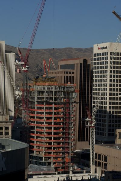 The view from the 20th floor of Salt Lake City's newest high-rise building, 222 S. Main Street Thursday December 3, 2009. It's one of the few skyscrapers that have been completed in the last year, as office building construction has largely come to a complete halt. 222 S. Main is a $125 million, 22-story office tower comprised of about 459,000 square feet of office space.