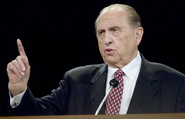 LDS Church president Thomas S  Monson speaking at a BYU devotional in the Marriott Center on the campus on  Tuesday, September 15, 2009.