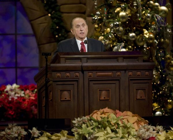 Mormon Church President Thomas Monson speaks on a Christmas theme before thousands in the Confernece Center at the annual Christmas Devotional on Sunday night.  The Mormon Tabernacle Choir and the Orchestra at Temple Square also performed.